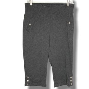 DANSKIN GREY CROP COTTON BLEND TRACK PANTS SZ M